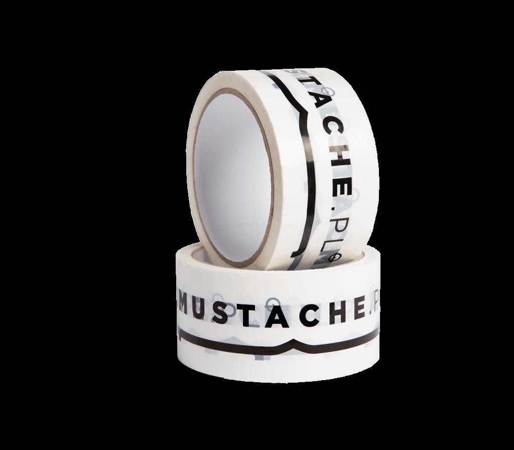 Annual fashion fair Mustacheadded their logo to some custom packaging tape.