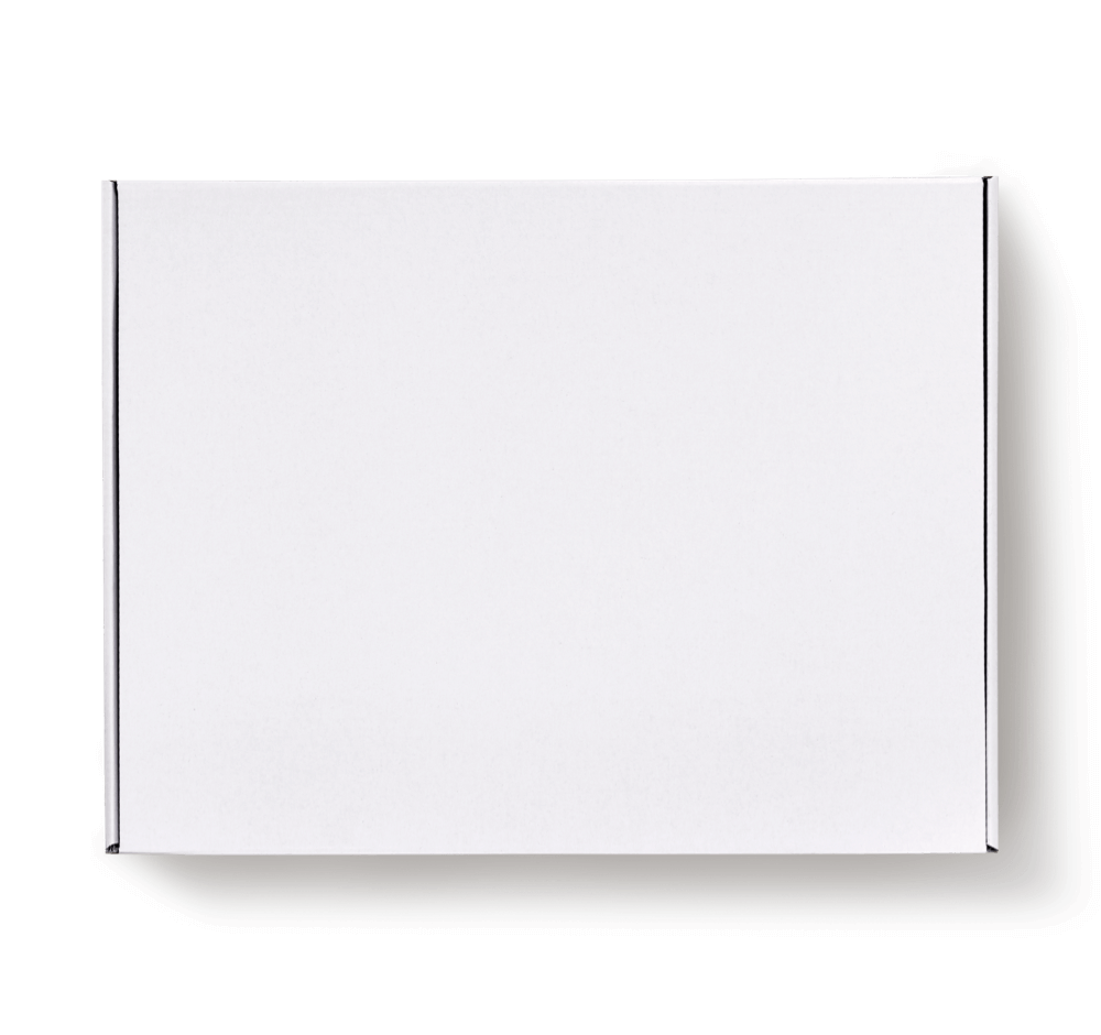 white delivery box with adhesive strips