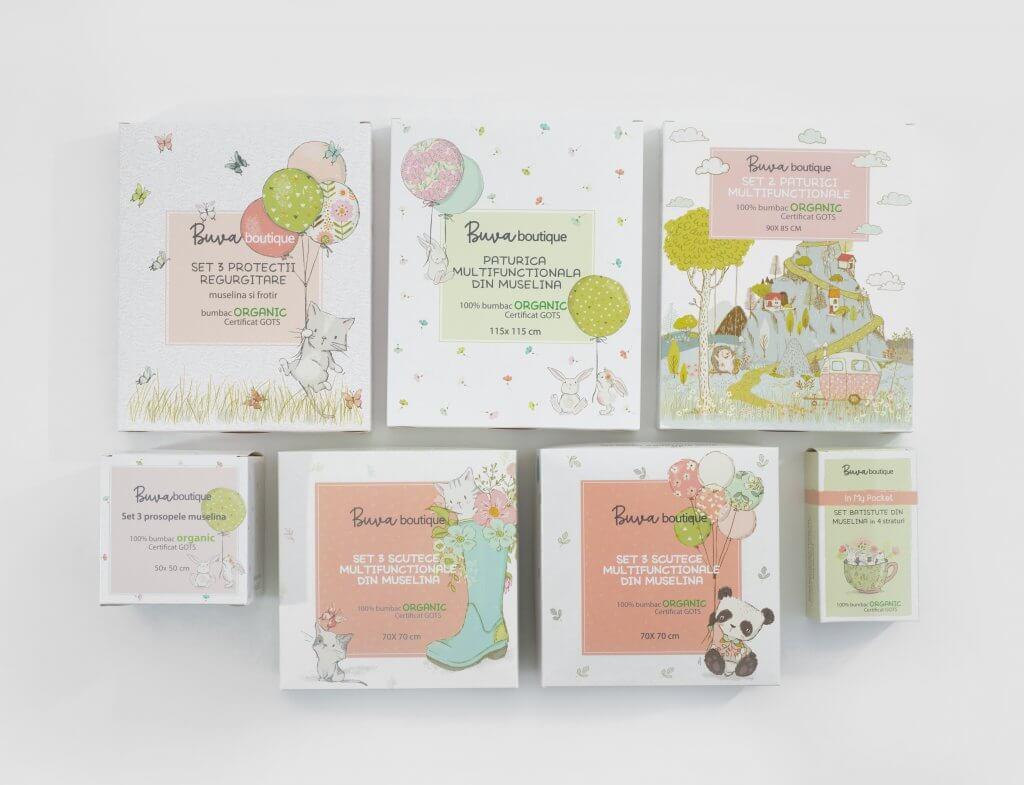 Scatole per prodotti classiche colori pastello Buva Boutique x Packhelp