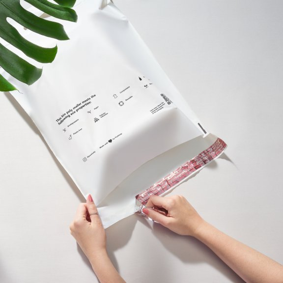 pre printed bio poly mailer with adhesive strip