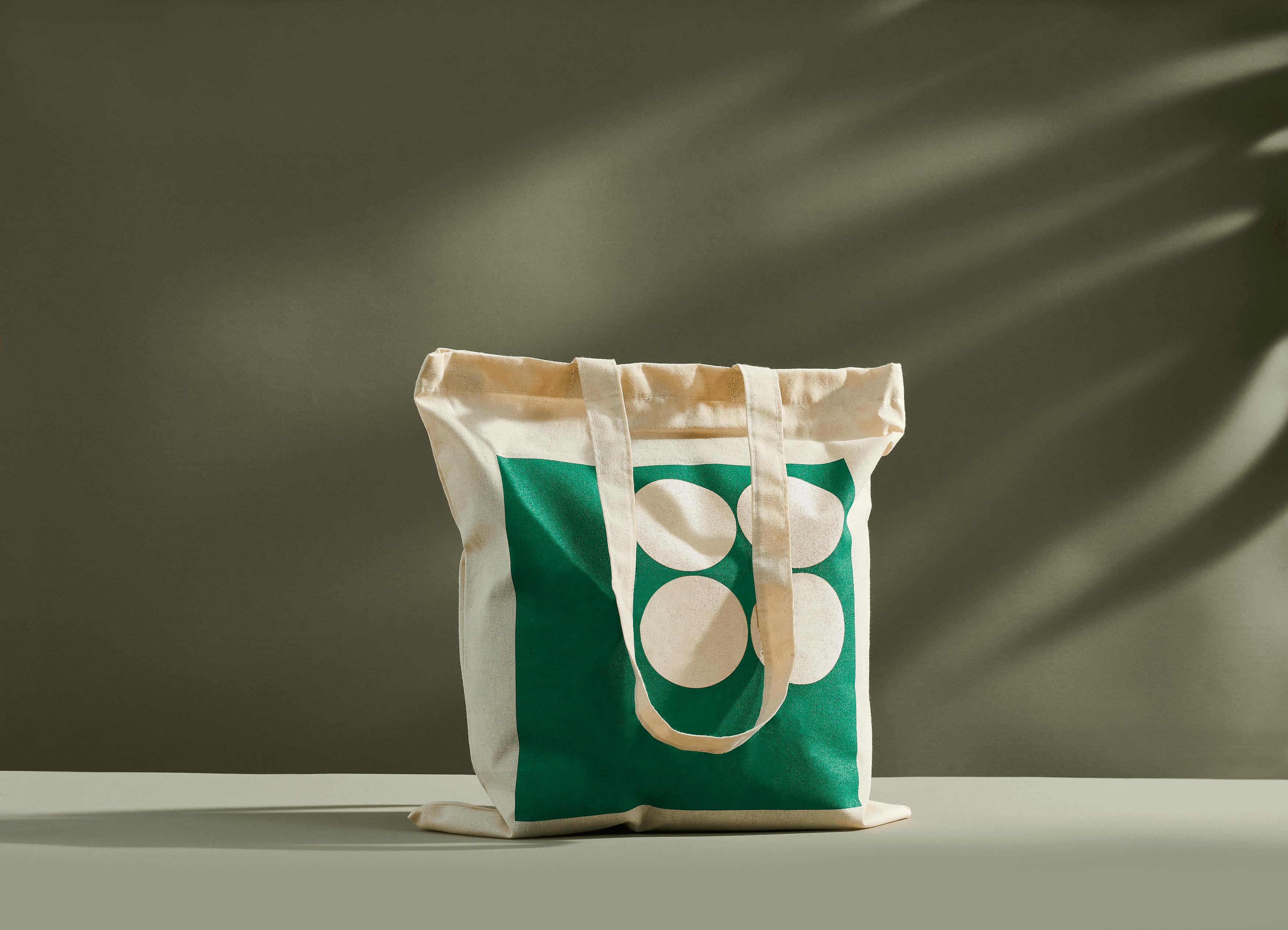 plasa din bumbac organic cu imprimare verde