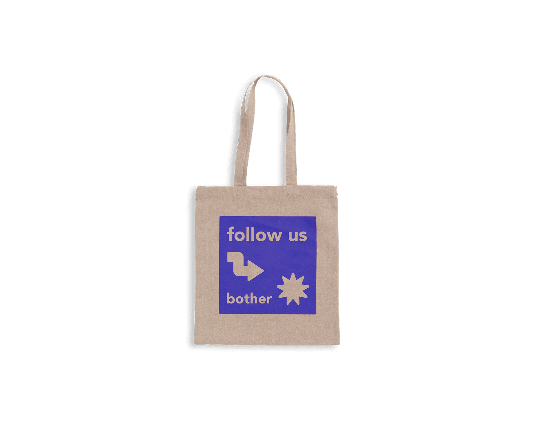 Ljusgrå tygväska i återvunnet tyg med lila tryck