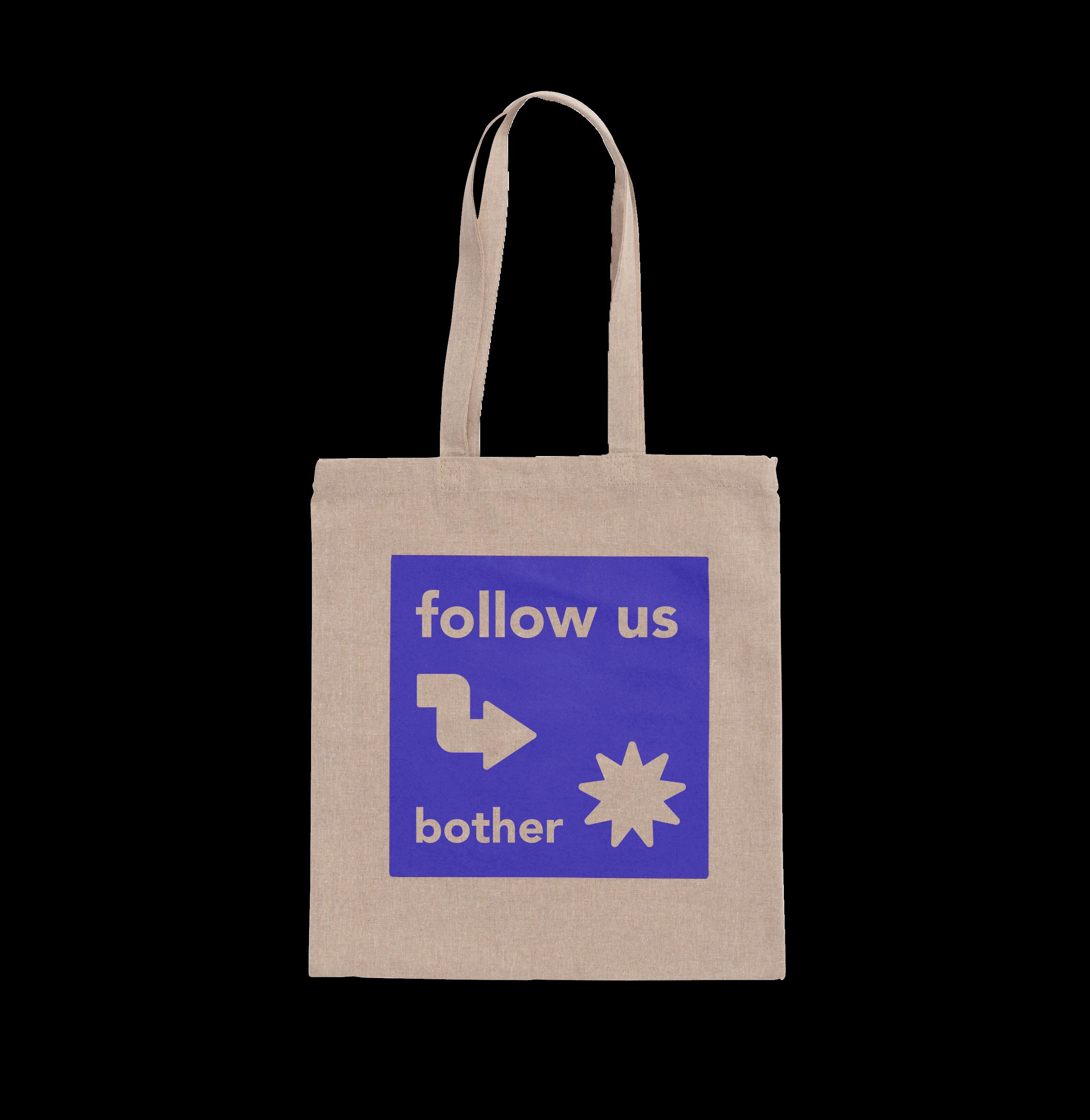 Lichtgrijze tote bag van gerecycled textiel met paarse print