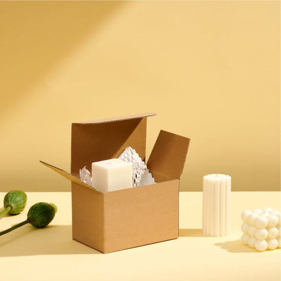kraft cardboard product box with candles